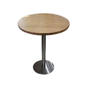 Bàn cafe HIGHLAND mặt bàn tre ép tròn D50 - Chân Inox (1)