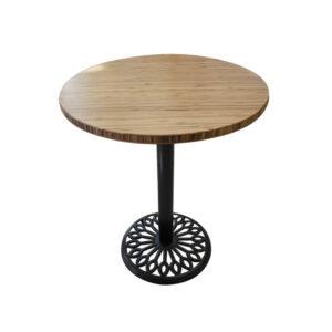 Bàn cafe HIGHLAND mặt bàn tre ép tròn D50 - Chân gang đúc (1)