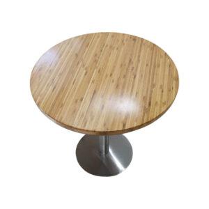 Bàn cafe HIGHLAND mặt bàn tre ép tròn D60 - Chân Inox (1)