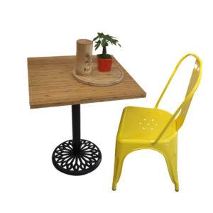 Bàn cafe HIGHLAND mặt bàn tre ép vuông SQ60 - Chân Inox (1)