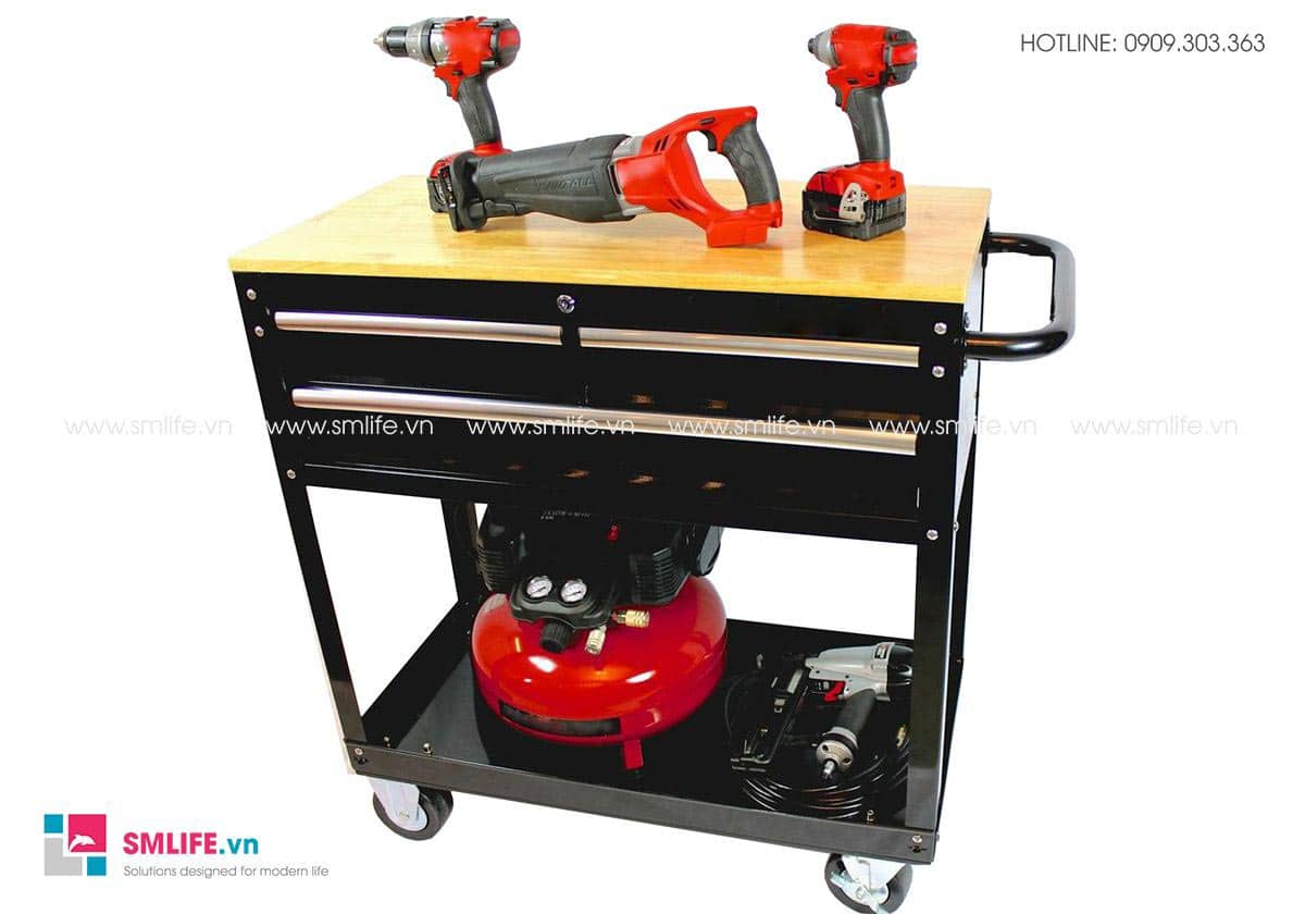 Hình 5 - Bàn thao tác lắp ráp kết hợp tủ đựng dụng cụ 3 ngăn kéo di động CSPS