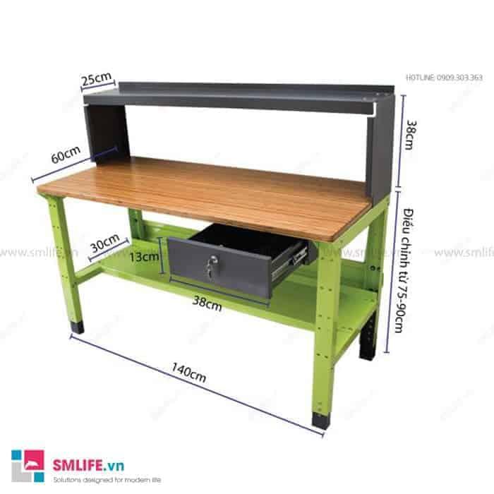 Bàn nguội cơ khí có mặt bàn bằng gỗ tre lắp ráp cao cấp 60cm x140cm