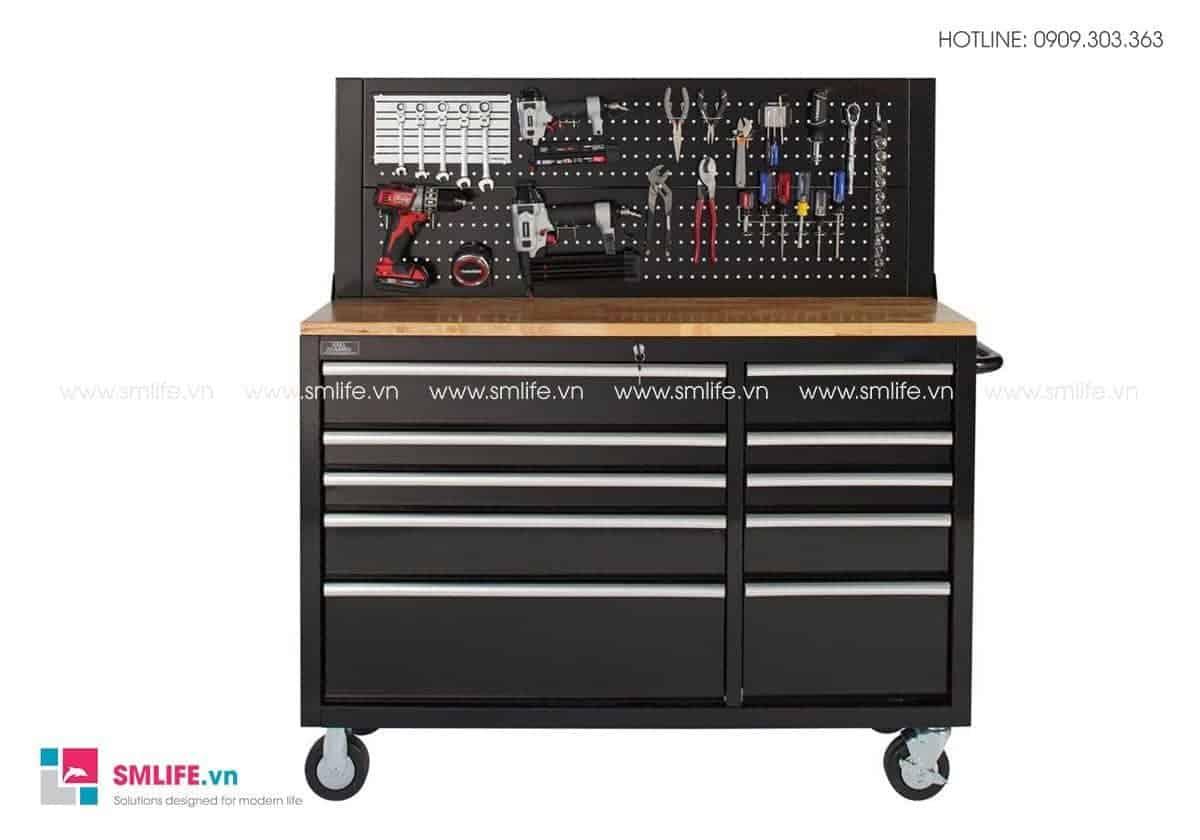 Hình 4 - Bàn thao tác lắp ráp kết hợp tủ đựng dụng cụ 10 ngăn kéo di động CSPS