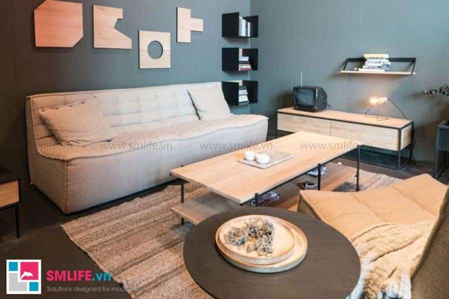 Bàn trà sofa hình chữ nhật được thiết kế bởi khung kim loại và gỗ