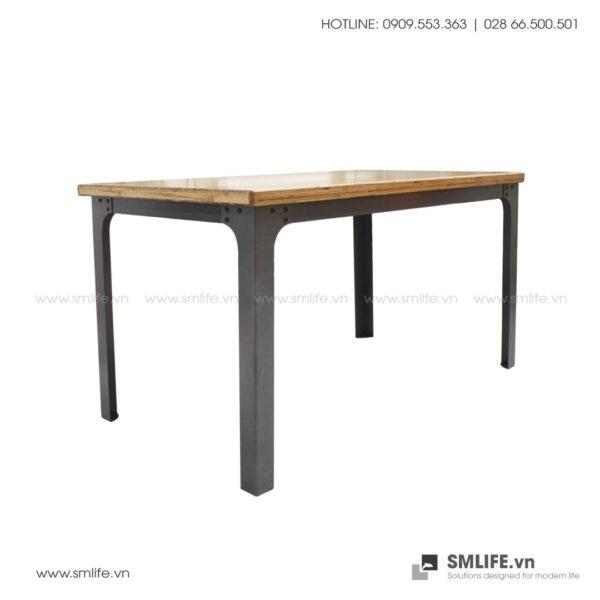 Bàn ĂN chân thép lắp ráp, mặt bàn tre ép | SMLIFE