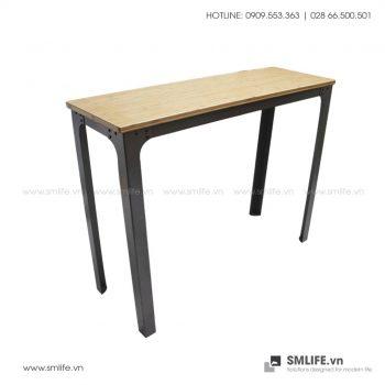 Bàn BAR chân thép lắp ráp, mặt bàn tre ép | SMLIFE