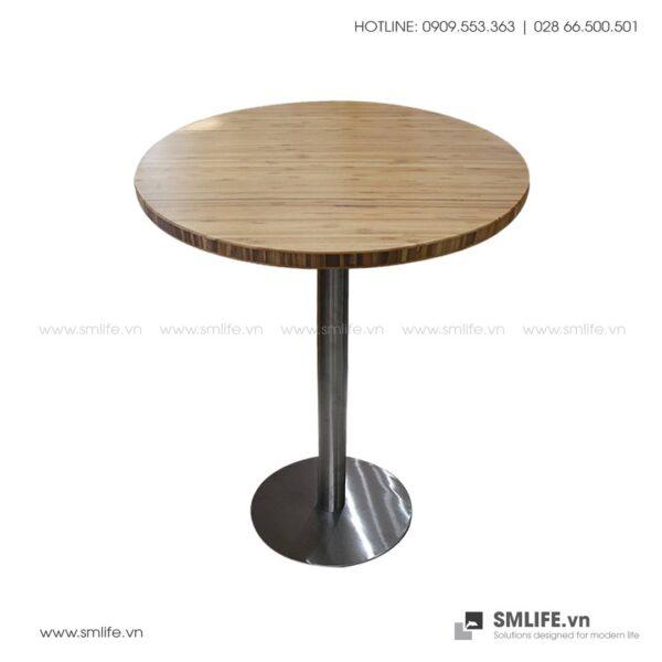 Bàn cafe HIGHLAND mặt bàn tre ép tròn D50 - Chân Inox | SMLIFE