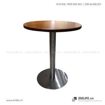 Bàn cafe mặt bàn tre ép Tròn D50, chân INOX