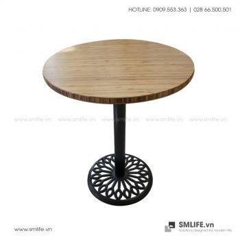 Bàn cafe HIGHLAND mặt bàn tre ép tròn D50 - Chân gang đúc | SMLIFE