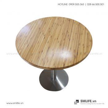 Bàn cafe mặt bàn tre ép Tròn D60, chân INOX