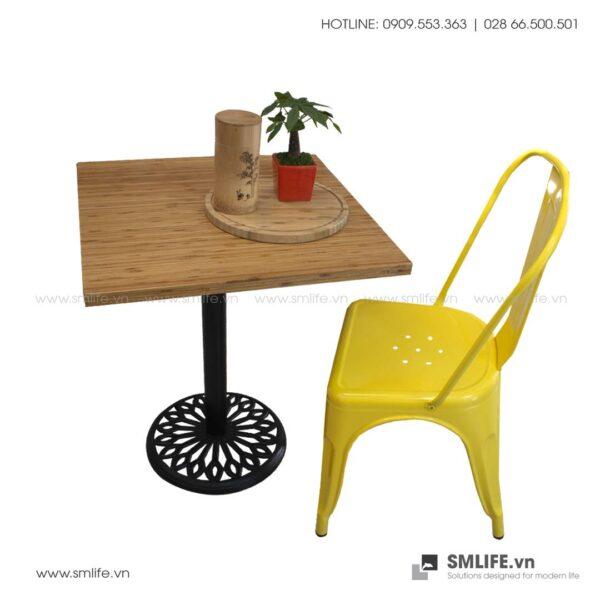 Bàn cafe HIGHLAND mặt bàn tre ép vuôg SQ60 - Chân gang đúc   SMLIFE