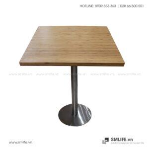 Bàn cafe HIGHLAND mặt bàn tre ép vuông SQ60 - Chân Inox | SMLIFE