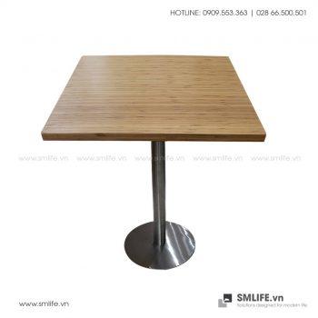 Bàn cafe mặt bàn tre ép Vuông SQ60, chân INOX