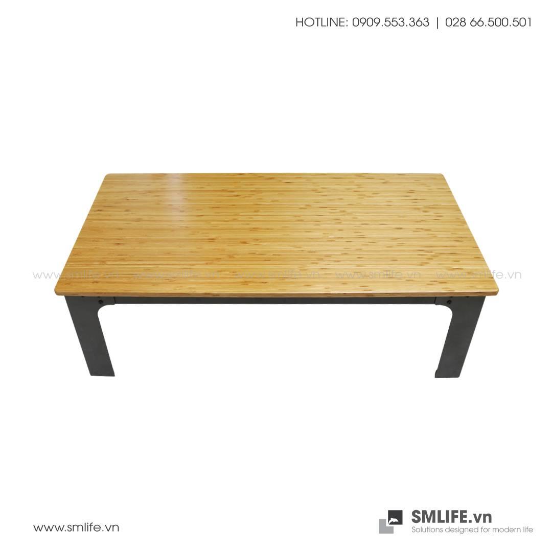 Bàn SOFA chân thép lắp ráp, mặt bàn tre ép | SMLIFE