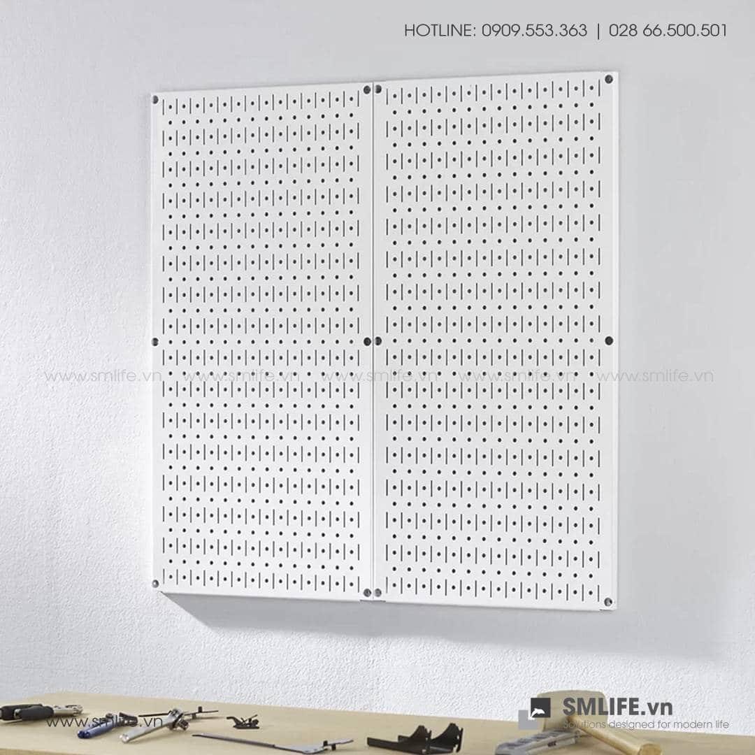 Bộ 2 Bảng treo dụng cụ Pegboard đứng 80×40 – Trắng