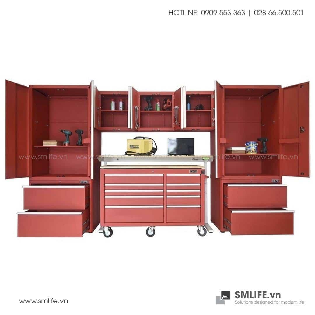 Combo 10 Thành Phần – 2 Tủ Đứng, 2 Tủ Để Sàn, 3 Tủ Treo Tường, Tủ Di Động, Bàn Workbench Nâng Điện Tử & Thang CSPS (Màu Đỏ)