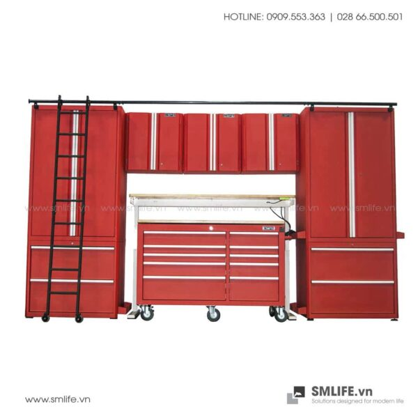 Combo 10 Thành Phần – 2 Tủ Đứng, 2 Tủ Để Sàn, 3 Tủ Treo Tường, Tủ Di Động, Bàn Workbench Nâng Điện Tử & Thang CSPS