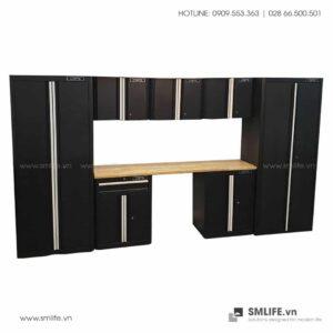 Combo 8 Thành Phần – 2 Tủ Đứng, 3 Tủ Tường, 2 Tủ Đựng Dụng Cụ & Mặt Bàn Thao Tác CSPS (Màu Đen)