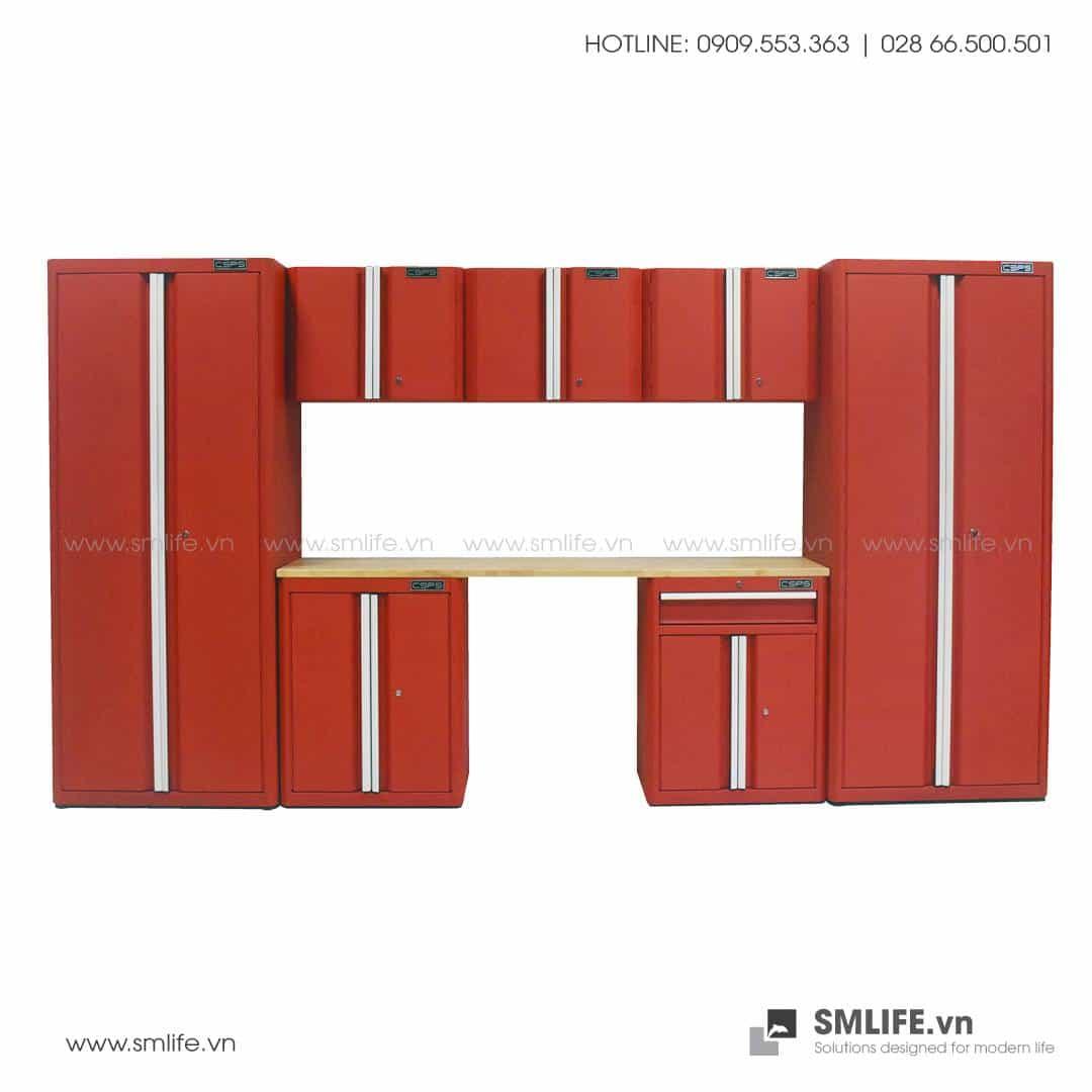 Combo 8 Thành Phần – 2 Tủ Đứng, 3 Tủ Tường, 2 Tủ Đựng Dụng Cụ & Mặt Bàn Thao Tác CSPS (Màu Đỏ)