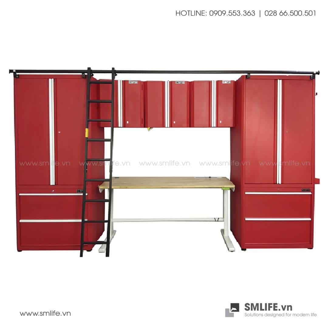 Combo 9 Thành Phần – 2 Tủ Đứng, 2 Tủ Để Sàn, 3 Tủ Treo Tường, 1 Bàn Điều Chỉnh Chiều Cao Tự Động & Thang CSPS (Màu Đỏ)