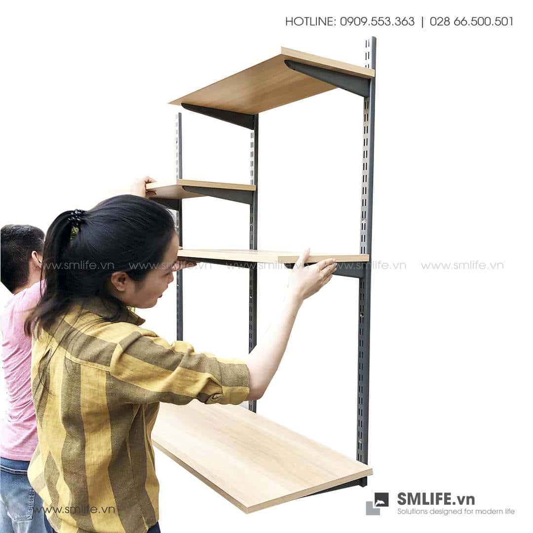 Bộ kệ thanh ray lỗ đôi railshelf kết hợp bàn làm việc SMLIFE