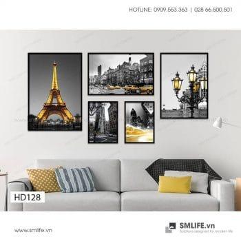 Tranh treo tường   Bộ 5 Tranh Thành Phố Paris Màu Vàng