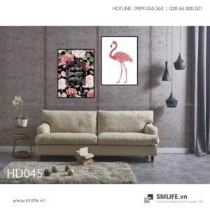 Tranh treo tường | Bộ 2 Tranh Flamingoes And Rose