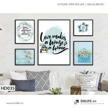 Tranh treo tường | Bộ 5 Tranh Love Makes House A Home