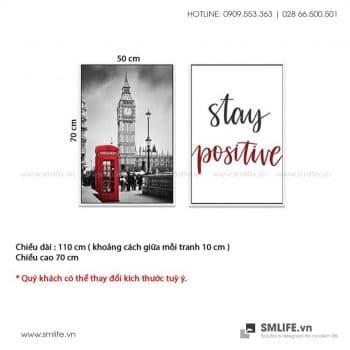 Tranh treo tường   Bộ 2 Tranh Stay Positive