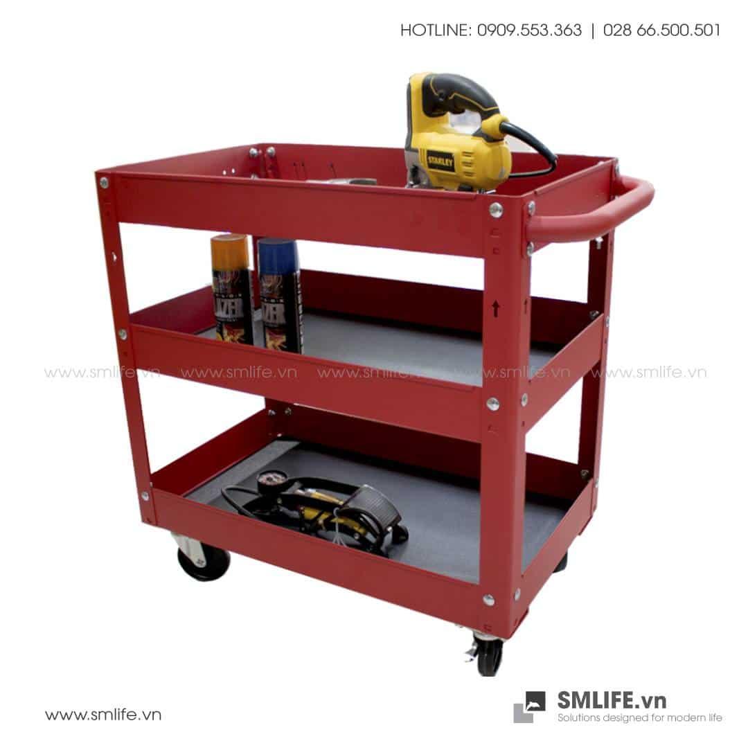 Kệ Đẩy Dụng Cụ Cơ Khí Di Động 3 Tầng CSPS – W43xL71xH76cm (Màu Đỏ)
