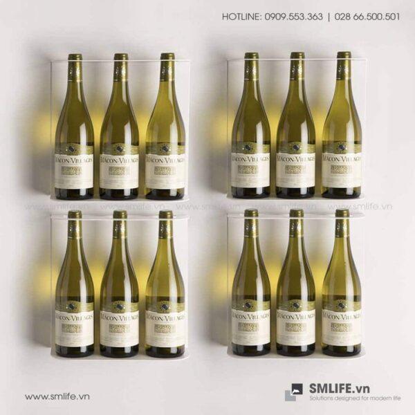Kệ rượu vang gắn tường, kệ thép trang trí   SMLIFE