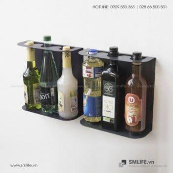 Kệ rượu vang gắn tường, kệ thép trang trí | SMLIFE