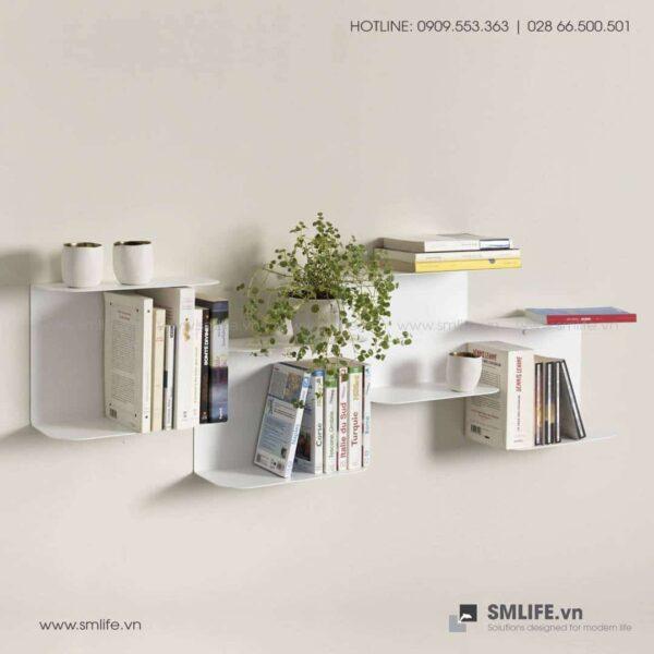 Kệ sách bậc thang BT60, kệ trang trí gắn tường | SMLIFE