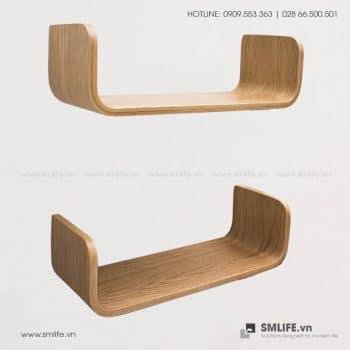 Kệ sách treo tường gỗ uốn cong C49 | SMLIFE