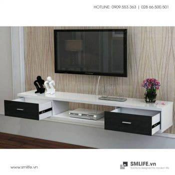 Kệ tivi treo tường Philo 2 ngăn kéo đen trắng TV141