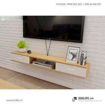 Kệ tivi treo tường Philo 2 ngăn kéo màu gỗ và trắng TV151