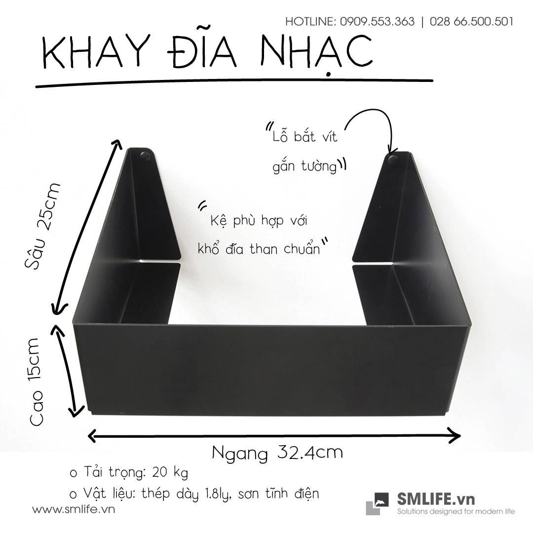 Khay đĩa nhạc Đen | SMLIFE