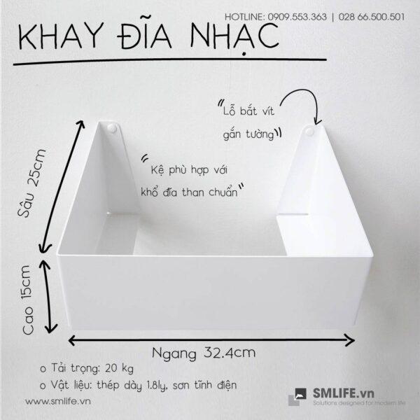 Khay đĩa nhạc Trắng   SMLIFE