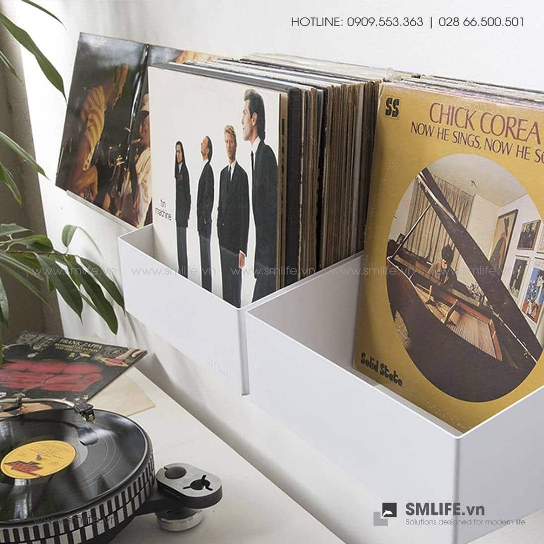 Khay đựng đĩa nhạc gắn tường, kệ đĩa nhạc trang trí   SMLIFE