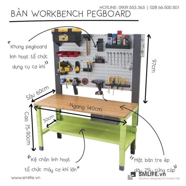 Workbench khung pegboard | SMLIFE