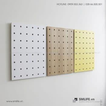 Bộ 3 Bảng Gỗ Đục Lỗ Pegboard 80x60cm | SMLIFE.vn
