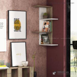 Kệ gỗ gắn tường trang trí hiện đại Bowcott  - Vì một sứ mệnh nội thất gỗ tự lắp ráp | SMLIFE