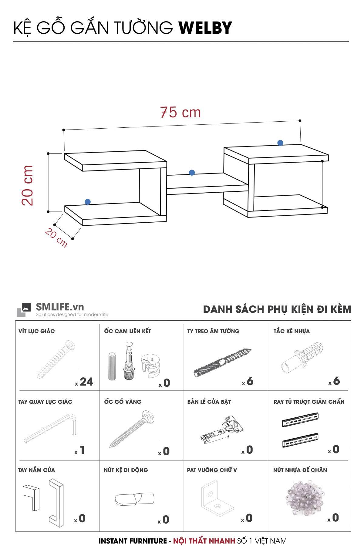 Thông số SP - Kệ gỗ gắn tường trang trí hiện đại Welby (12)