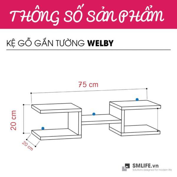 Kệ gỗ gắn tường trang trí hiện đại Welby | SMLIFE.vn