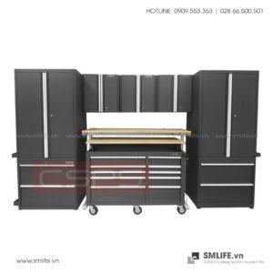 Combo 10 Thành Phần - 2 Tủ Đứng, 2 Tủ Để Sàn, 3 Tủ Treo Tường, Tủ Di Động, Bàn Workbench Nâng Điện Tử & Thang CSPS (Màu Đen) | SMLIFE.vn