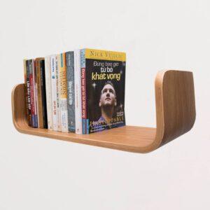 SMLIFE | Kệ sách treo tường gỗ uốn cong C49