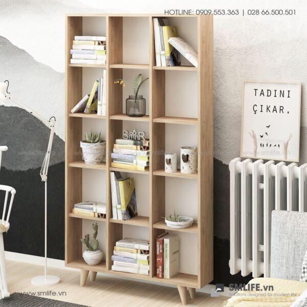 Kệ sách, kệ trang trí gỗ hiện đại Bugio (4)